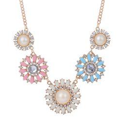КРАСИВЫЙ ПЛАН Vintage Flower Statement Chunky Party Chain Jewelry Жемчужные чокеры ожерелья Small Daisy для женщин ключица от