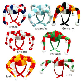 Wholesale Hat World Cup - 8 Country 2018 Russia World Cup Football Flag Color Fans Hat Clown Hat Headwear for Cheerleading Football Fans Decorations Hats