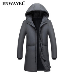 Парки мужские корейские онлайн-ENWAYEL Autumn Winter Warm Jacket Men Jackets Coat Hooded X-Long Male Coat Korean Casual Outwear Parkas EW130