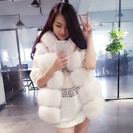 Wholesale Red Fox Vest - 2018 European and American new style rhombic fur vest long section of a slim and faux fur fox fur female hooded vest