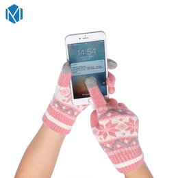 Guantes de cachemira para mujer online-Unisex casuales gruesos gruesos guantes de invierno de cachemira para mujer copo de nieve ola de lana de punto de algodón mitones pantalla Luvas para niñas regalos
