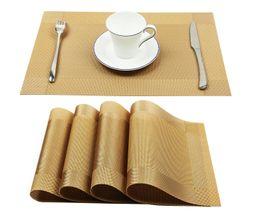 Wholesale Wholesale Dining Placemats - Vinyl Golden Placemats Heat Resistant Dining Table Woven Vinyl Non-slip Insulation Placemat Washable Table Mats
