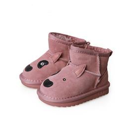82bf60cf Invierno niños moda zapato caliente bebé niño nieve bota chica bota de  cuero genuino negro