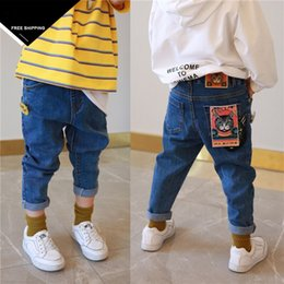 Wholesale boys elastic waist jeans - 2018 New Fashion Kids Jeans Elastic Waist Straight pants fox pocket pants feet children boy girl jeans
