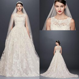 Wholesale Plus Size Wedding Reception Dresses - Oleg Cassini Beaded Lace Wedding Dress with Pleated Skirt 2018 Modest Plus Size Jewel Sweep Train Garden Bridal Reception Wedding Gown