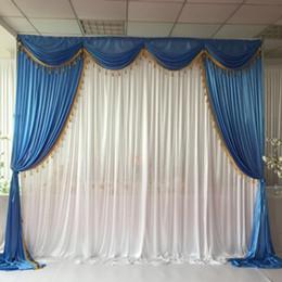 Backdrops blau online-Heißer Verkaufs-Blau Weiß Eis-Silk 3mx3m Swags drapiert mit Quasten 1PCS FREIES VERSCHIFFEN für Hochzeit Hintergrund Hochzeit Vorhang