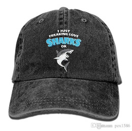 just hats Coupons - pzx@ Baseball Cap for Men Women, I Just Freaking Love Sharks Mens Cotton Adjustable Denim Cap Hat Multi-color optional