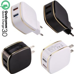 Wholesale tablet pc wholesale uk - QC 3.0 Quick charge Wall charger 2 Dual usb ports Ac home travel wall chargers for iphone 6 7 8 x samsung s8 s9 android phone tablet pc mp3