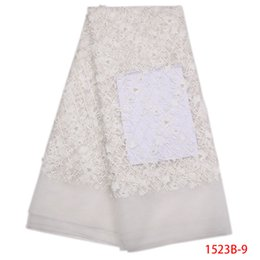 Wholesale Beaded Embroidered Fabric - 3D Lace Fabric White Lace Trim Embroidered Beaded Fabric 5 Yards   Lot African Lace Fabric 100% Polyester For Party QF1523B-1