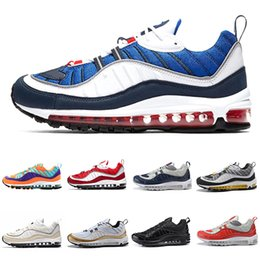 Wholesale shoes uk man - New 98 Gundam Running Shoes Mens sup blue red Triple black white uk & GMT Cone 98s Designer shoes Trainer Sport Sneakers Eur 40-46