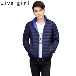 Wholesale Reversible Down Jacket - Liva girl New Ultra Light Duck Down Jacket Men Feather Man Winter Double Reversible Parka Coats Plus Size 3XL Thin Warm Overcoat