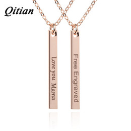 Wholesale Engraved Necklace Name - whole saleQITIAN Rose Gold Color Name Date Bar Necklace Women DIY Custom Free Engraved Statement Personalized Necklaces & Pendants Jewelry