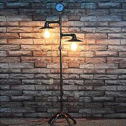 Wholesale Used Head Lights - 2 Heads Nordic Industrial Vintage Creative Floor Lamp Bedroom Restaurant Bar Decoration Water Pipe Light Use E26 E27