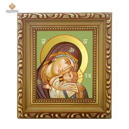Wholesale Russian Frame - Photo frame russian Orthodox Church lcon of virgin mary and jesus wood craft Christian picture byzantine gifts religious art