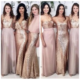 Wholesale Sequin Dress Women - Sexy Custom Cheap 2018 Bling Sequins Bridesmaid Dresses Formal Maid of Honor Vestidos De Bridesmaids Gowns Women Party Formal Wear