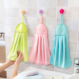 Wholesale Thick Kitchen Towels - Hand Towel Plush Nursery Hanging Kitchen Bathroom Thick Soft Cloth Wipe Towel Cotton Non-oil-Stick Dish Washing Quick-dry