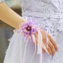 Wholesale wedding bridesmaid hand accessories - 2018 New Arrival Bridal Wrist Flowers European Style Simulation Hand Accessories Hot Sale Bridesmaid Wedding Flower