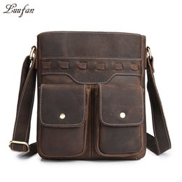 Wholesale ipad vintage - Men's thick genuine leather shoulder bag for iPad Brown Real leather messenger bag Cow crossbody casual travel