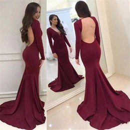 Wholesale Deep Neck Shirts - 2018 Burgundy Mermaid Long Sleeves Formal Evening Dresses Deep V Neck Sexy Backless Prom Gowns with Long Sweep Train Cheap Party Gowns