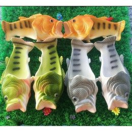 Wholesale Types Flat Sandals - Family Slipper Creative Type Fish Slippers Men Woman Handmade Personality Fish Sandals Kids Bling Flip Flops Slides Fish Beach Slippers