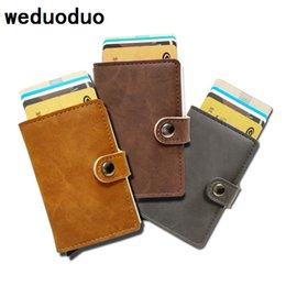 Wholesale men wallet leather money clip - weduoduo Men  Holder Fashion PU Leather Metal Card Holder With RFID Case Automatic Money Cash Clip Mini Wallet