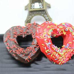 Wholesale Heart Shape Love Phone - Doughnut Design Love Heart Shape Squishy Slow Rising Jumbo Flesh Squishies Bread Kids Novelty Toys Phone Key Chain Charms 3 7km Z