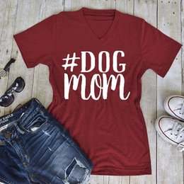 Wholesale Dog Shirt Woman - DOG MOM Letter Print TShirt Summer Short Sleeve gray Wine Red Women Tee shirt V Neck New Fashion Female Tops maternity Tops Plus Size