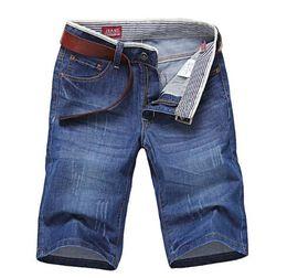 Wholesale Denim Shorts 38 - 2018 Knee Length Denim Shorts Men's Solid Cotton Straight Short Jeans New Summer Male Casual Blue Short Jeans size 28-38