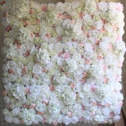 heiße rosa pfingstrose blume Rabatt 40X60 cm Künstliche Seidenblume Wandtafel Weiße Blumen Hortensien Hochzeitsdekoration Hochzeit Hintergrund Decor 12 teile / los