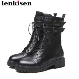 Lenkisen rock style bout rond fermeture à glissière med talons boucle ceintures designer européen fait main en cuir de vache Magnifiques bottes de moto L62 ? partir de fabricateur