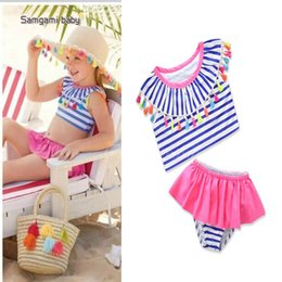 Wholesale Summer Bikinis For Kids - New Children Striped Swimwear girls Tops tassel Briefs shorts 2pcs set 2018 summer Bikini Kids Swimsuit For Girl Hot spring Sets Blue A9330