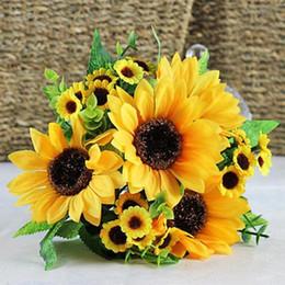 Wholesale Plastic Bouquet - 1 Bouquet Lifelike Artificial Sunflower Artificial Plastic Sunflower Heads Home Party Decorations Props 2016
