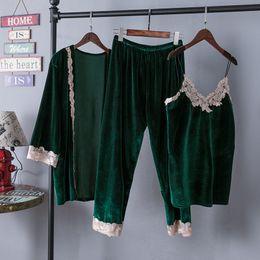Wholesale Robe Pants - Fashion women's sleepwear winter velvet kimono gown pjs vest pants robe three piece pajamas sets luxury night dress free shipping S106
