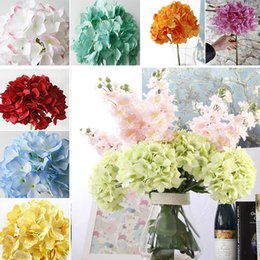 Wholesale Prom Flower Bouquets - H 42cm Bride Hydrangea Big Flower Silk White Red Bouquet For Wedding Prom Home Party Decorative Wreaths Photography HH7-436