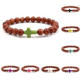 Wholesale green sand stone - Cross Bracelets Party Gift Women Luxury Jewelry Brand Men Jewelry Chakra Yoga Jewelry Gold sand Natural stone beads bracelets