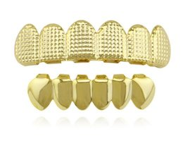 Wholesale Tooth Shaped Jewelry - Hiphop Gold Lattice Shape Teeth Grillz Dental Top & Bottom Grills Set Party Halloween Teeth Caps Jewelry