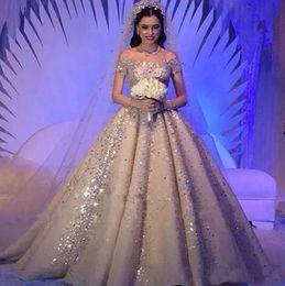 Wholesale wedding dresses crystals ball - Luxurious Saudi Arabic Crystals Rhinestones Ball Gown Wedding Dresses Plus Size Dubai Off-Shoulder Beaded Chruch Bridal Wedding Gowns Custom