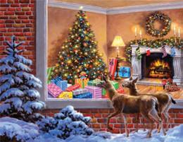 2019 pintura del diamante la navidad Diamante bordado animal ciervos de la navidad diy diamante pintura punto de cruz kit de resina redonda completa mosaico de diamantes decoración del hogar regalo yx1893 rebajas pintura del diamante la navidad