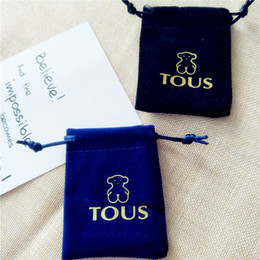 Wholesale wholesale pouches for jewelry - Black and blue colors high-grade flannelette pouches jewelry packaging for gift bears jewelry Velvet bags