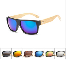 Wholesale Men Sport Sunglases - Original Wooden Bamboo Sunglasses Men Women Mirrored UV400 Sun Glasses Real Wood Shades Gold Blue Outdoor Goggles Sunglases Male