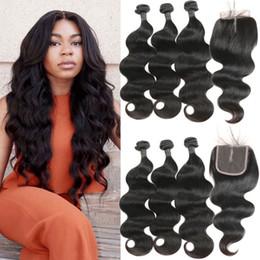 2019 parte del cabello humano cierre Indian Body Wave 100% cabello humano 3 lotes con 4 * 4 cierres de encaje Middlle parte lateral Remy Hair Extensions parte del cabello humano cierre baratos