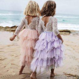 Wholesale Lace Mid Calf Wedding Dress - Baby Girl Dress Lace Cake Tutu Luxuriant Girls Kids Wedding Flower Princess Party Pageant Dress Long Sleeve Tulle Dress