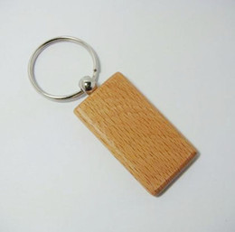 Wholesale opener key chain - Wholesale 10pcs Blank Rectangle Wooden Key Chain DIY Promotion Customized Key Tags Promotional Gifts - Free Shipping