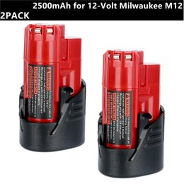 2Pack 12V bateria de lítio 2500mAh para 12 volts Milwaukee M12 RED bateria de lítio-ion compacto Packs 48-11-2420 48-11-2401 48-11-2411 48-11-244 de
