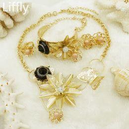 2018 lujo joyería nupcial collar de flores rosa perla negro cristal Dubai Dubai sistemas de la joyería de la boda moda mujeres pendientes conjunto desde fabricantes