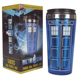 Wholesale Hot Dr - Hot Sale Doctor Dr .Who Tardis Coffee Cup With Lid Coffee Bottle Stainless Steel Interior Fashion Mug 450ml Creative Gifts