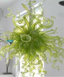 Estilo Lámparas colgantes modernas 100% soplado a mano Sombra de vidrio Araña verde Decoración para el hogar Arte Lámpara de cristal en accesorio desde fabricantes