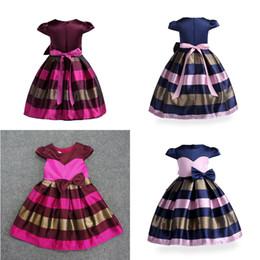 Wholesale childrens ball dresses - Short sleeve children's dress girl horizontal print childrens dress Baby girl party Brithday skirt Kids clothings 100% Cotton girls dress