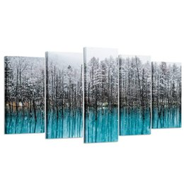 Schwarze florale wandkunst online-Blauer Wald Leinwand Wandkunst handgemaltes Ölgemälde Winter Landschaften von schwarzen Bäumen Schnee Bild Kunst für Heim und Büro Dekoration