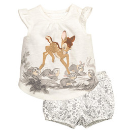 Wholesale Animal Print Pants For Kids - Baby Girls Clothing Sets Blouse And Pants 2 pcs Shirts+Shorts Clothing For Girls New Summer Outfits Kids Deer Printed